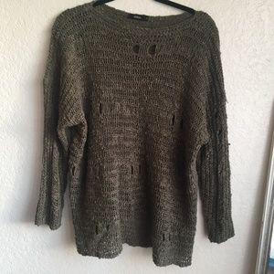 Millau Olive Green Distressed Oversized Sweater LF